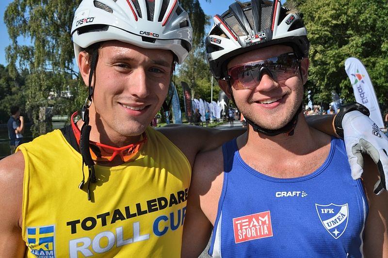 Marcus Johansson och Robin Norum vann överlägset i dagens teamsprint i Toblach. Här är duon efter Alliansloppet. FOTO: Johan Trygg.