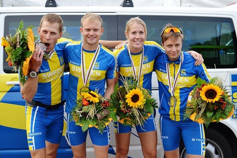 Glada svenska medaljörer. Anders Svanebo, Robin Norum, Terese Andersson och Maria Magnusson. FOTO: Martin Eckervad.
