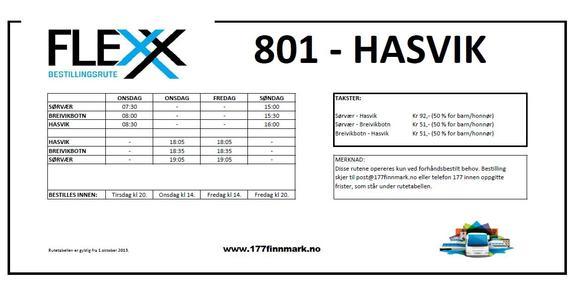 Flex Hasvik - gjeldende fra 01.10.13