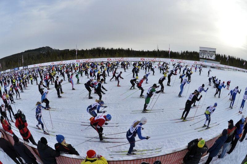 Starten på KortVasan i Oxberg 2013. Ett lopp där det fortfarande finns platser kvar till loppet 2014. FOTO: Vasaloppet/Nisse Schmidt.