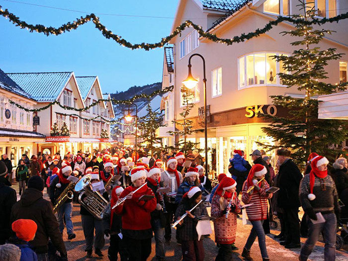 Julebyen med gågata i Egersund