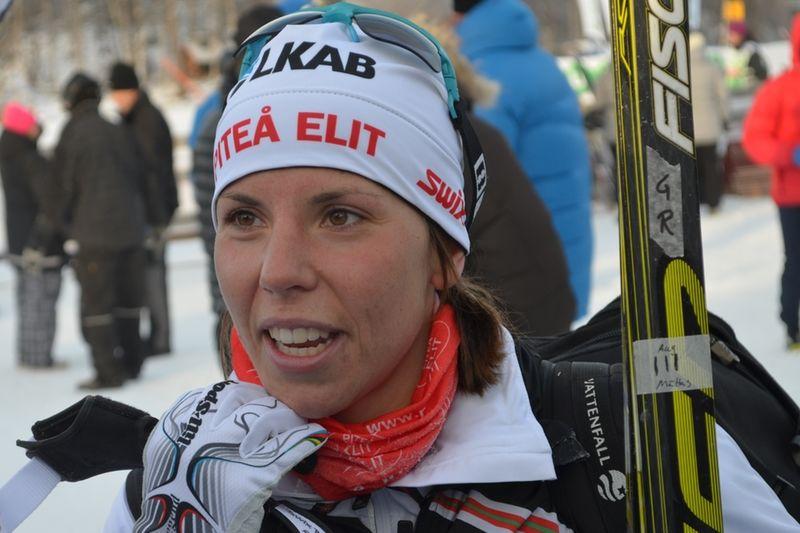Ingen kunde hota Charlotte Kalla på dagens fem kilomter klassiskt i Bruksvallarna. FOTO: Johan Trygg.