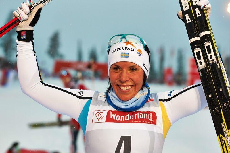 Charlotte Kalla slutade trea på den tuffa banan i Davos. FOTO: Felgenhauer/NordicFocus.