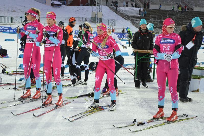 Från lagtempotävlingen i Östersund. Från vänster, Annika Löfström, Sara Lindborg, Lina Korsgren och Solfrid Braathen. FOTO: SkiProAm.