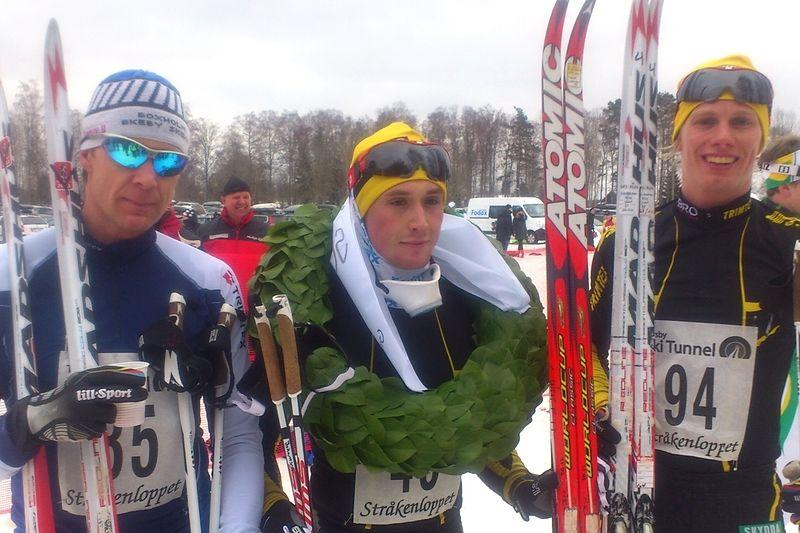 Marcus Johansson vann Stråkenloppet före Peo Svahn och Erik Wikström. FOTO: Lars Grehn.