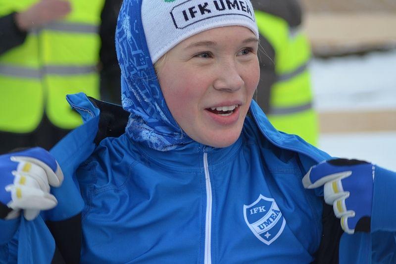 Jonna Sundling krossade allt motstånd i JVM-finalen i sprint. Här är Jonna efter SM-stafetten för några veckor sedan. FOTO: Johan Trygg.