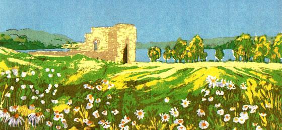 Kirkeruinene i Maridalen. Tegning av Frances Dodman