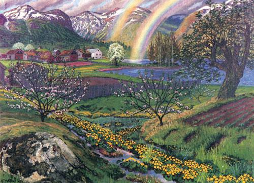 """""""Soleier og regnbue"""" av Nikolai Astrup"""