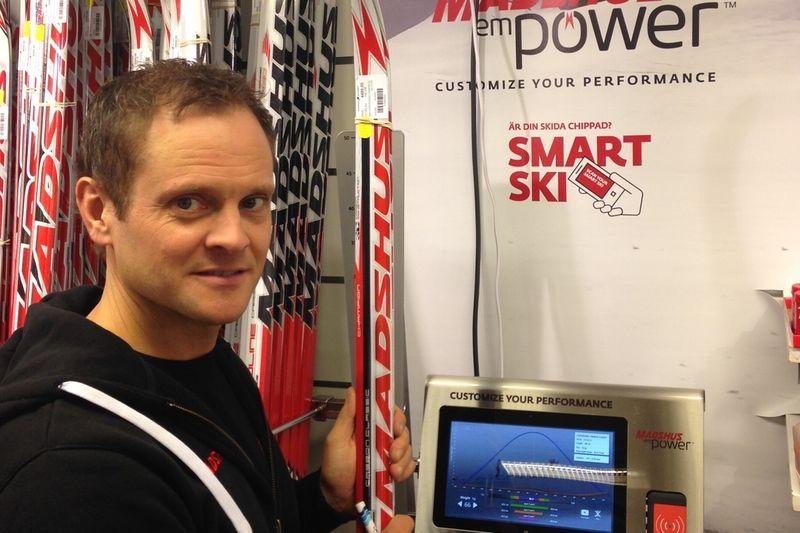 John Vikman är mycket nöjd med introduktionen av Madshus empower i längdåkingsbutikerna i Sverige. FOTO: Johan Trygg/Längd.se.