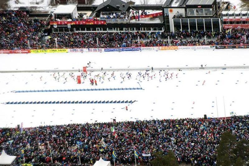 Totalt 281 600 besökare kom till tävlingsarenan på Lugnet i Falun under skid-VM. Trots evenemangets storlek visar en rapport från konsultföretaget ÅF att den totala miljöpåverkan var låg. FOTO: Falun2015.