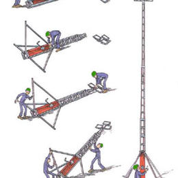 Lysmast mobil med støtteben 10 m