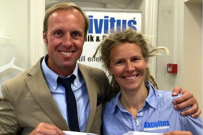Fredrik Erixon - grundare av CCC1000 - tillsammans med Sara Danielsson Lundqvist, ägare och grundare av Aktivitus. FOTO: CCC1000.