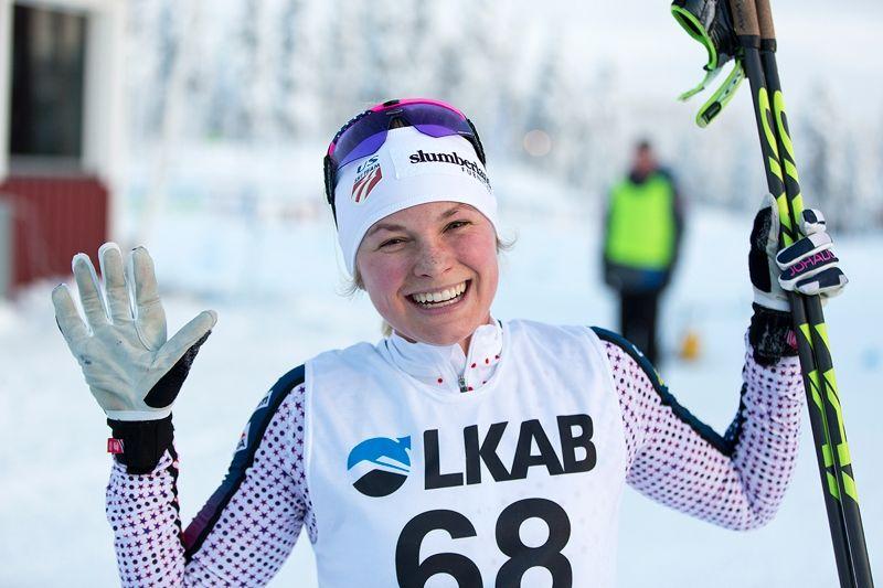 Jessica Diggins vann för andra dagen i Gällivare. FOTO: Michael Renström, Imega Promotion.
