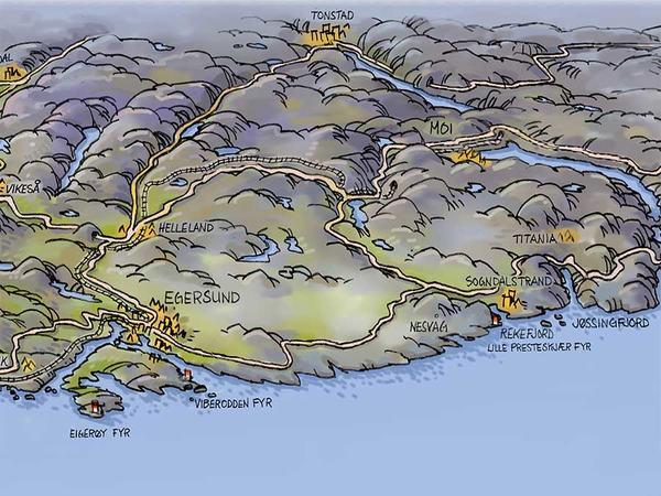 Illustrasjonskart over eigersund og Dalane
