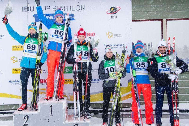 Topp sex i herrklassen vid dagen IBU cup i Idre som genomfördes i snöoväder. FOTO: T-W Media.