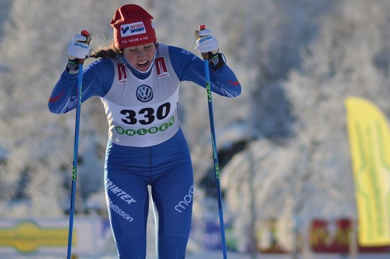 Marika Sundin åkte starkt på Borås Ski Marathon. Hennes tid hade räckt till sjunde plats i herrklassen. FOTO: Johan Trygg/Längd.se.
