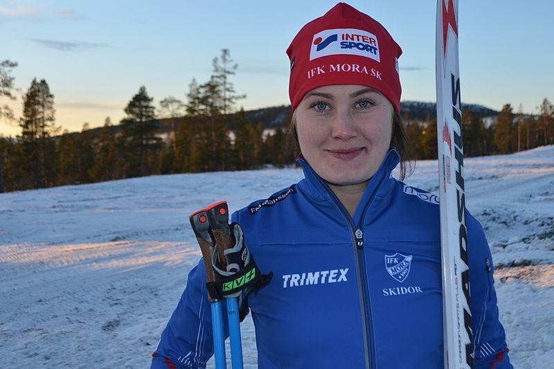 IFK Moras Marika Sundin har tagit plats i landslagstruppen till tävlingarna i Nove Mesto i helgen. FOTO: Johan Trygg/Längd.se.