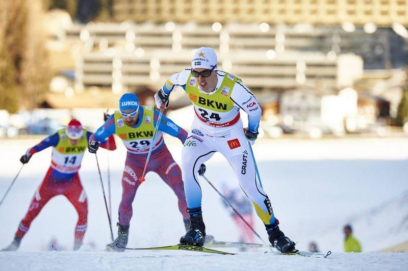 Calle Halfvarsson åker både sprint och distans vid helgens världscuptävlingar i Toblach. Här är Calle vid sprinten i Davos där han blev 15:e man. FOTO: Felgenhauer/NordicFocus.