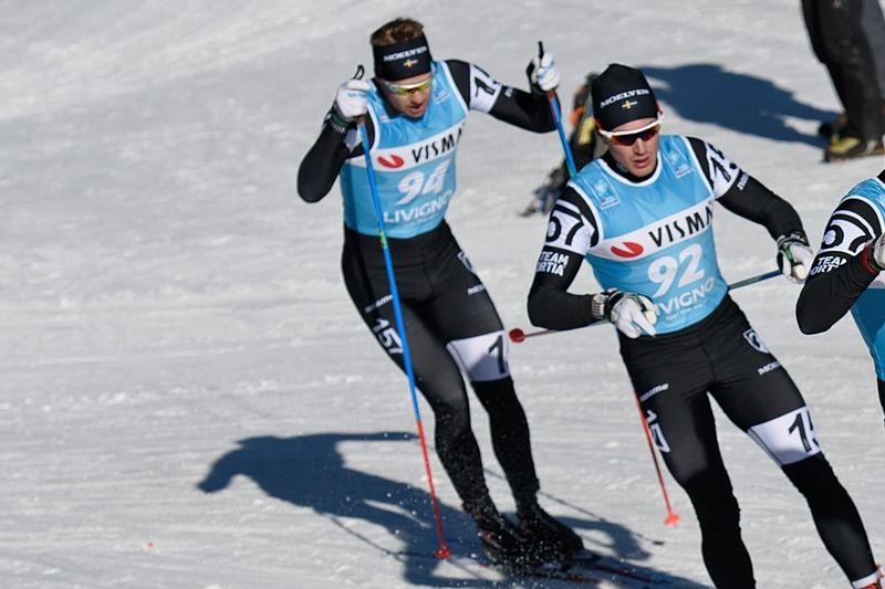 Fredrik Byström och Marcus Johansson tog första och andra plats vid Axa Ski Marathon i Falun. Här är duon under Ski Classics-prologen i Livigno tidigare i vinter. FOTO: NordicFocus.