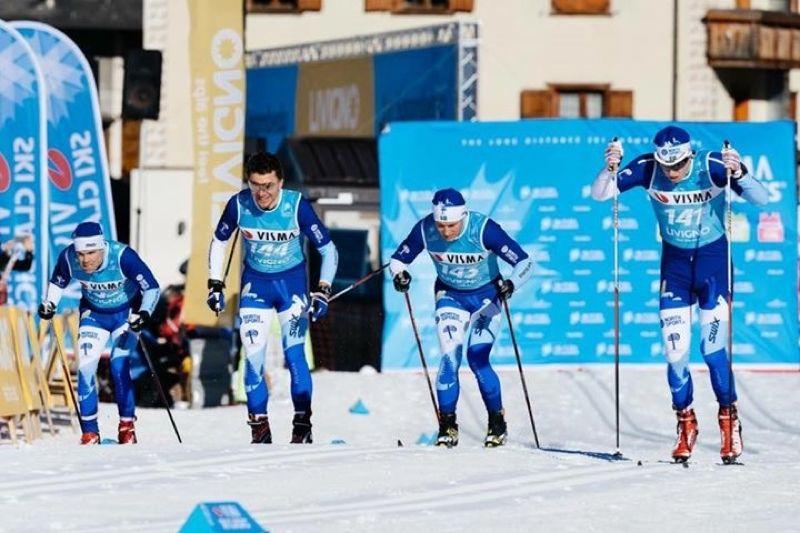 Här är delar av Pelagia/Northsport.se Ski Team under prologen vid starten på Vimsa Ski Classics i Livigno. FOTO: Magnus Öst, Ski Classics.