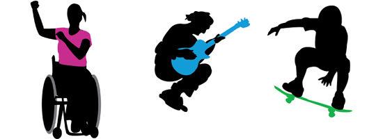 Illustrasjonsbilde av rullestol, gitarspiller og skater