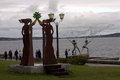 Sculptures on the embarkment of Onega