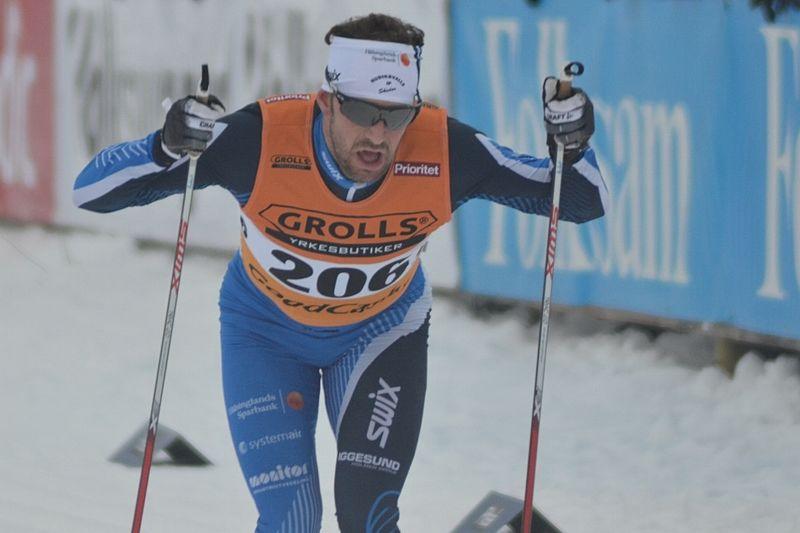 Anders Södergren gör långloppspremiär för Team Exspirit vid Marcialonga på söndag. Här är Anders på SM i Piteå som han precis lämnat med guld från stafetten. FOTO: Johan Trygg/Längd.se.