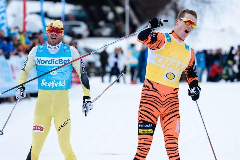 Så här tight var det i herrklassen när Petter Eliassen vann före Johan Kjölstad i Kaiser Maximilian Lauf. FOTO: Visma Ski Classics.