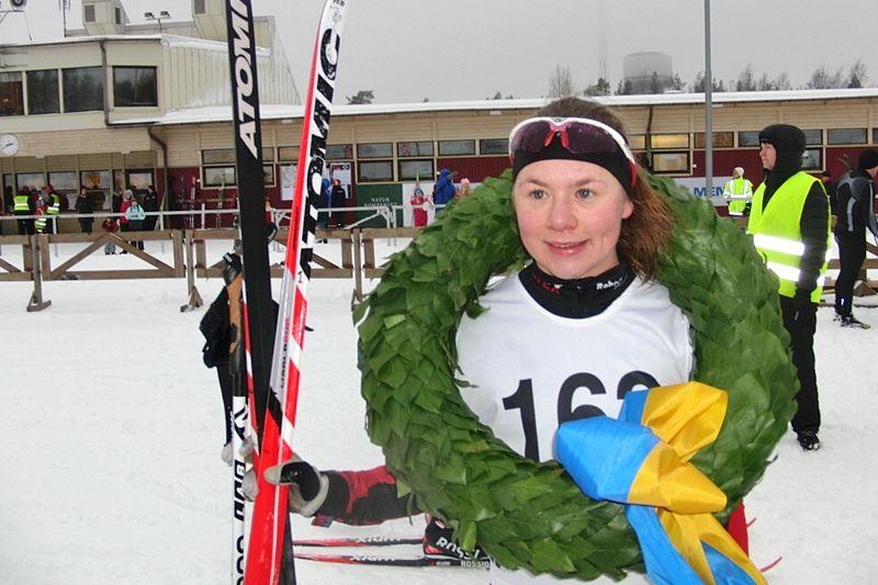 Sofia Lindberg åkte Fjällrävenloppet för första gången och gillade den kuperade terrängen på Skyttis. FOTO: Hägglunds SK.