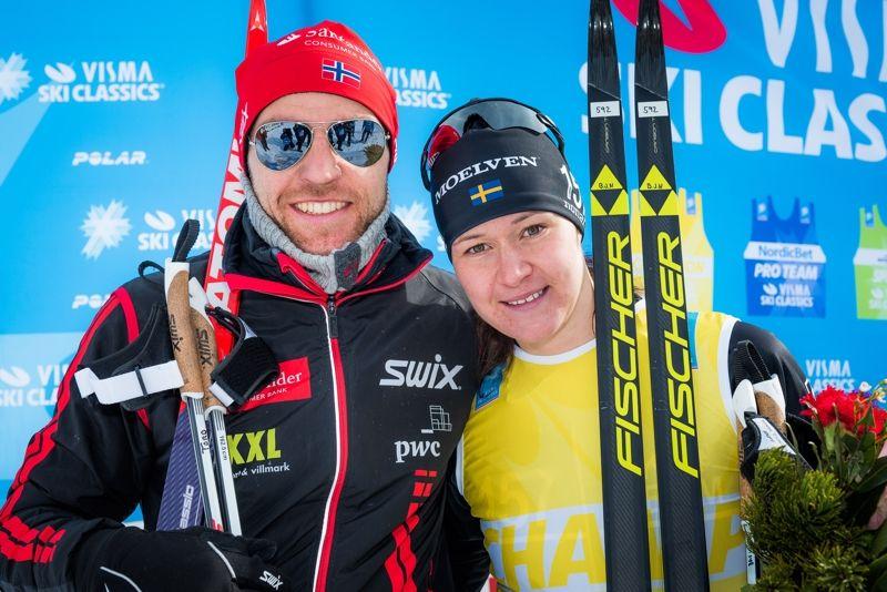 Tord Asle Gjerdalen och Britta Johansson Norgren vann nya Ski Classics-loppet Toblach/Dobbiaco-Cortina. Det var Brittas fjärde seger i vinter. FOTO: Visma Ski Classics.