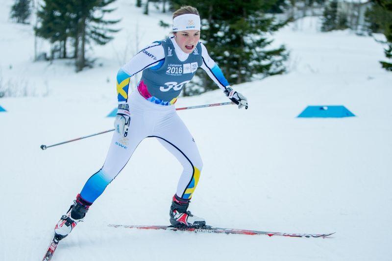 Johanna Hagström på väg mot en fjärdeplats på ungdoms-OS 5 km fristil. FOTO: Jostein Vedvik/Lillehammer 2016.