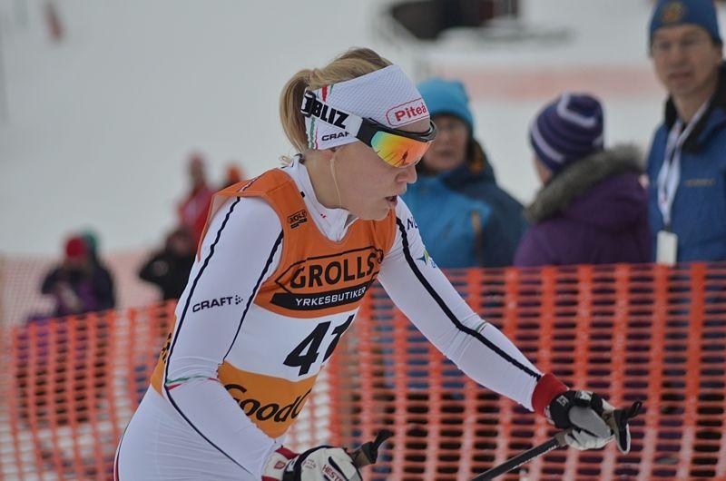 Lisa Vinsa, Piteå Elit, leder Intersport Cup efter helgen tävlingar i Hudiksvall. FOTO: Johan Trygg/Längd.se.