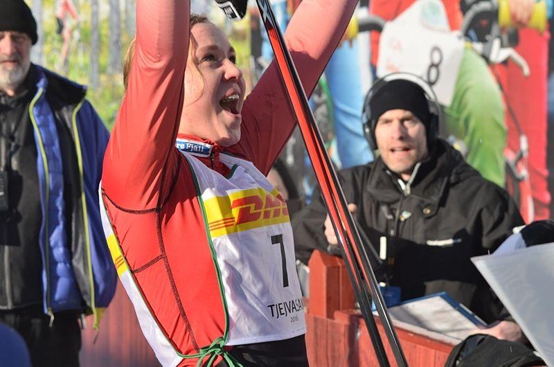 Tredjeplatsen på Tjejvasan kändes som en seger för Julia Svan efter alla motgångar med sjukdomsproblem. FOTO: Johan Trygg/Längd.se.