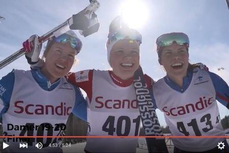 Medaljtrion i D 19-20. Elina Rönnlind, brons, Emma Ribom, guld och Jenny Solin, silver. FOTO: Video JSM/SK Bore.
