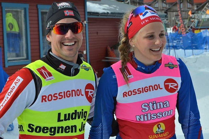 Snabbare än vinden kan man säga om Ludvig Sögnen Jensen och Stina Nilsson som vann supersprinten i Ramundberget idag. Bilden är dock från när duon vann samma tävling 2014. FOTO: Johan Trygg/Längd.se.