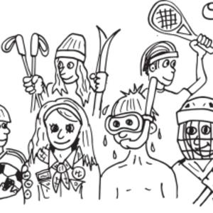 Illustrasjon av unger kledd for ulike fritidsaktiviteter
