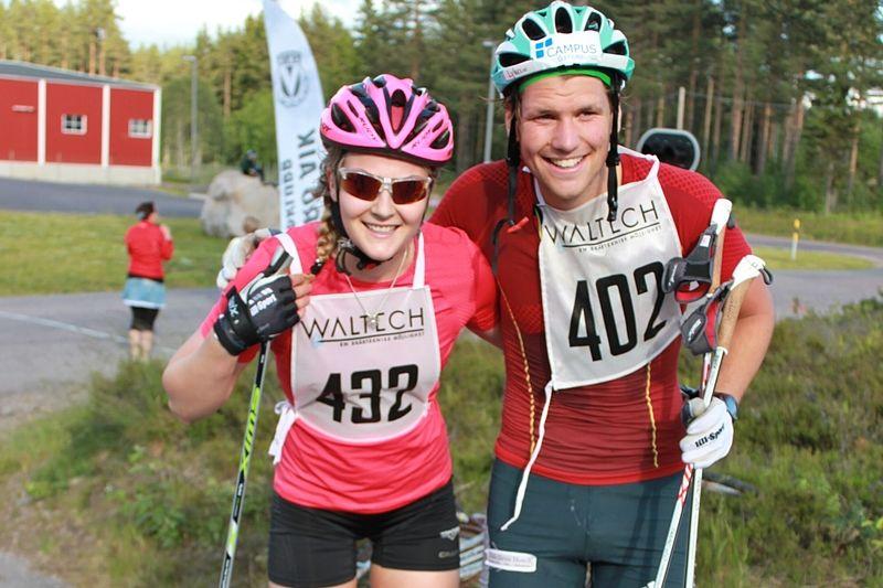 Stina Nilsson och Gabriel Stegmayr segrade i Vansbrorullen 2015. På söndag är det dags för andra upplagan av rullskidloppet. FOTO: Vansbro AIK SK.