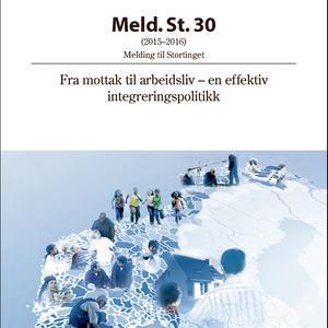 Omslaget til stortingsmelding 30, Fra mottak til arbeidsliv-en effektiv integreringspolitikk
