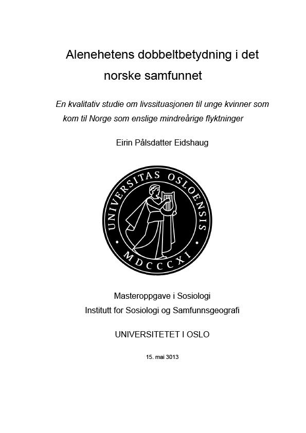 Bilde av omslaget til Mastergradsoppgave Alenehetens dobbeltbetydning i det norske samfunnet