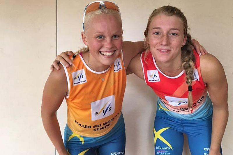 Sandra Olsson och Emma Larsson två av Sveriges fyra vinnare vid rullskidvärldscupen i Madonna, Lettland. FOTO: Svenska Skidförbundet.
