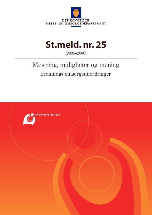 Omslaget til Stortingsmelding nr. 25 Mestring, muligheter og mening