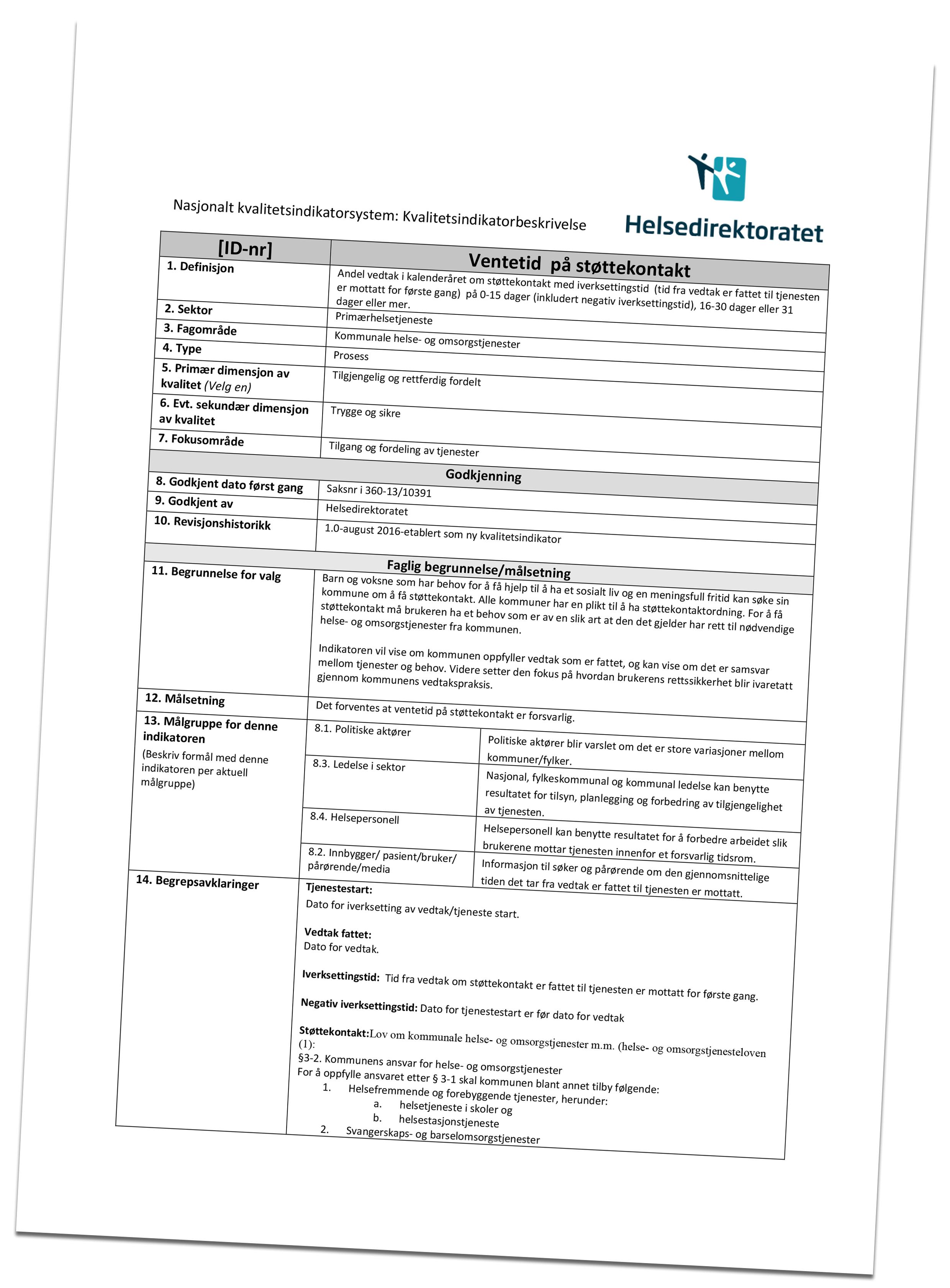 Illustrasjon som viser skjema for kvalitetsindikatorbeskrivelse vedrørende ventetid på støttekontakt