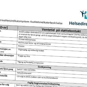Ingressbilde som viser skjema for kvalitetsindikatorbeskrivelse vedrørende ventetid på støttekontakt
