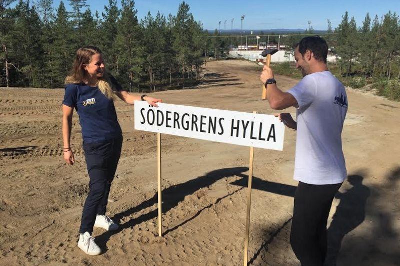 Maria Rydqvist och Anders Södergren invigde den tuffaste backen på vinterns skid-SM i Söderhamn - Stenbergsbacken. När backen är avklarad passerar man passande nog Södergrens hylla. FOTO: Torbjörn Nordvall.