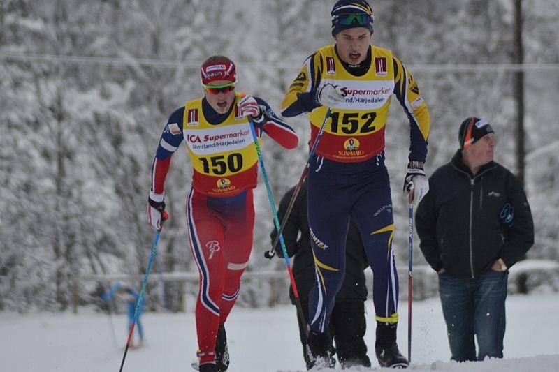 Skillingaryds Leo Johansson vann dagens JVM-test i Östersund. Här är Leo vid säsongspremiären i Bruksvallarna. FOTO: Johan Trygg/Längd.se.