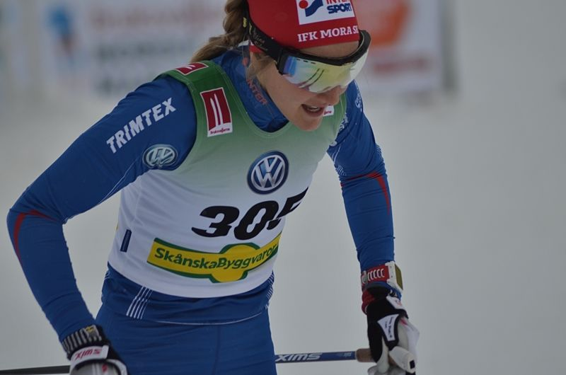 Stina Nilsson var bäst av de svenska tjejerna i sprintkvalet i Lillehammer. FOTO: Johan Trygg/Längd.se.