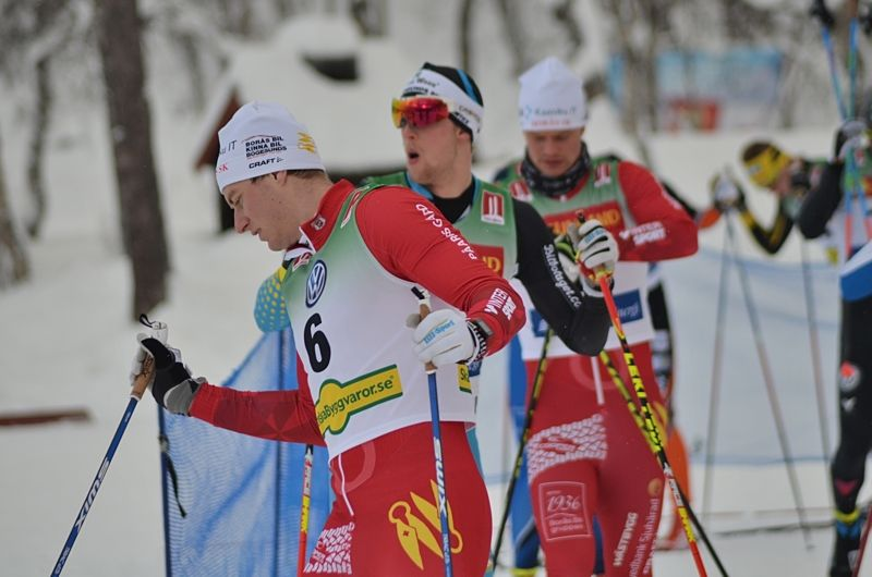 Borås SK:s Gustav Nordström var kvalsnabbast i Idre närmast före klubbkompisen Karl-Johan Westberg, som syns i bakgrunden. Bilden från premiären i Bruksvallarna. FOTO: Johan Trygg/Längd.se.