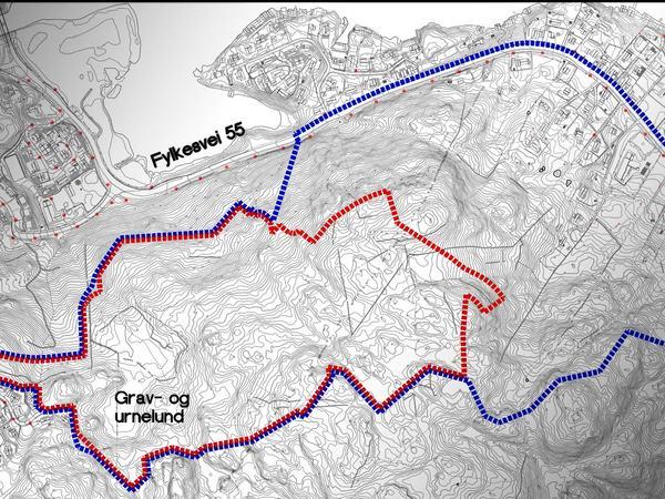 Kart over gravlund