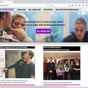 Skjermbilde av nettsiden til Fritidsförbundet.se