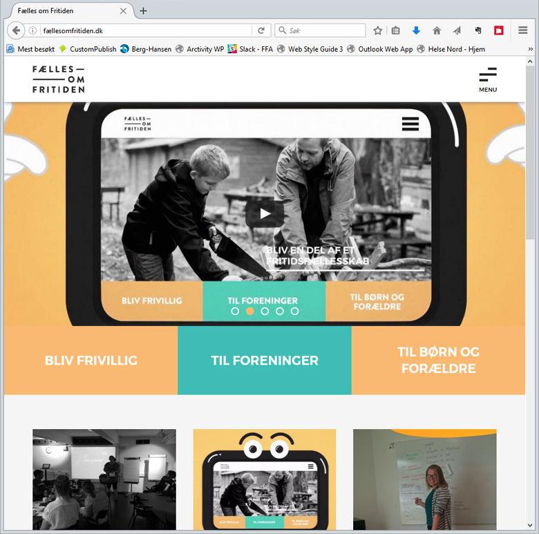 Skjermbilde av nettsiden til prosjektet Fælles om fritiden